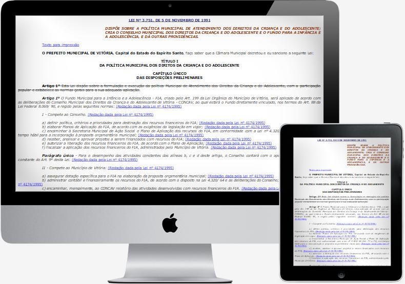 Imagem mostrando a LEI Nº 3.751 da Câmara Municipal de Vitória/ES nos dispositivos desktop e tablet