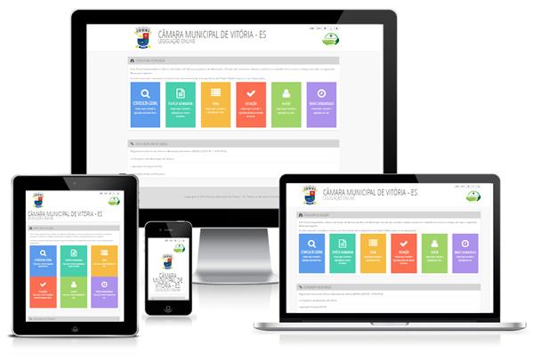 Imagem mostrando a Compilação de Atos Normativos da Câmara Municipal de Vitória/ES em diversos dispositivos como desktop, laptop, tablet e smartphone