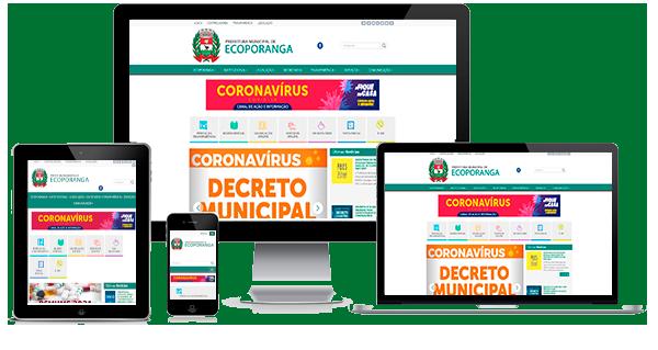 Imagem mostrando o site da Câmara Municipal de Itapemirim/ES em diversos dispositivos como desktop, laptop, tablet e smartphone