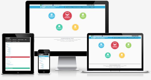Imagem mostrando o Portal da Transparência da Prefeitura Municipal de Piúma/ES em diversos dispositivos como desktop, laptop, tablet e smartphone